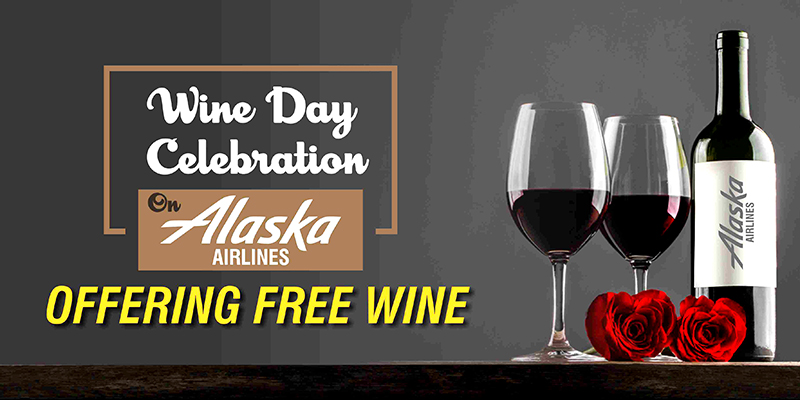 Wine Day Celebration On Alaska Airlines, Offering Free Wine