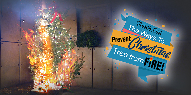 Christmas Tree On Fire.Check Safety Measures To Prevent Christmas Tree From Fire
